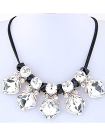 Fashion Multi-color Geometry Shape Decorated Pure Color Simple Design Necklace