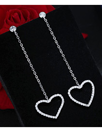 Trendy Silver Color Diamond Decorated Heart Shape Pure Color Earrings