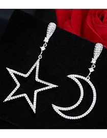 Trendy Silver Color Moon&star Shape Decorated Pure Color Simple Earrings
