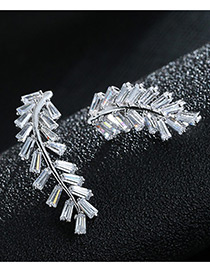 Trendy Silver Color Diamond Decorated Leaf Shape Pure Color Earrings