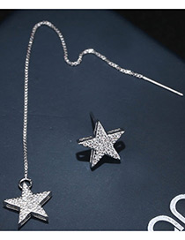Trendy Silver Color Star Shape Decorated Asymmetry Desgin Pure Color Earrings