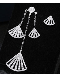 Trendy Silver Color Diamond Decorated Asymmetry Desgin Pure Color Earrings
