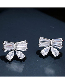 Trendy Silver Color Bowknot Decorated Pure Color Simple Earrings