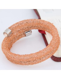 Trendy Orange Pure Color Decorated Double Layer Opening Bracelet