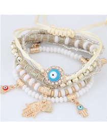 Trendy White Palm&eys Pendant Decorated Color Matching Multi-layer Bracelet