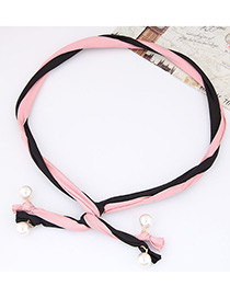 Fashion Black + Pink Pearl Decorated Color Matching Simple Design Headbands