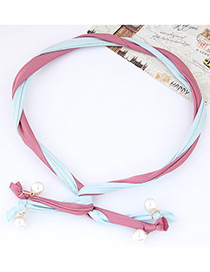 Fashion Pink + Light Blue Pearl Decorated Color Matching Simple Design Headbands