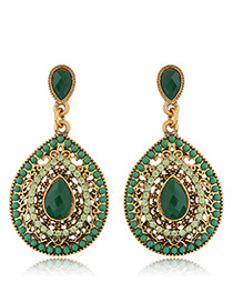 Trendy Green Diamond Decorated Hollow Out Design Pure Color Earrings