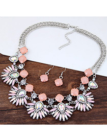 Fashion Multi-color Diamond Decorated Hollow Out Design Simple Jewelry Set