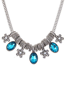 Fashion Blue Flower Shaped Decorated Color Matching Simple Necklace