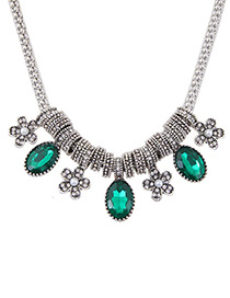 Fashion Green Flower Shaped Decorated Color Matching Simple Necklace
