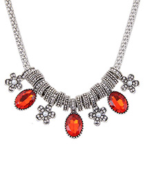 Fashion Red Flower Shaped Decorated Color Matching Simple Necklace
