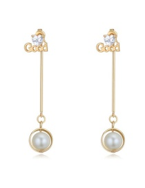 Elegant Gold Color Round Shape Decorated Simple Long Chain Earrings