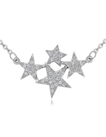 Elegant Silver Color Star Shape Decorated Simple Pure Color Long Chain Necklace