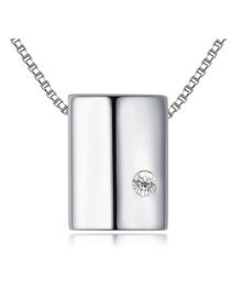Fashion Silver Color Square Shape Decorated Simple Heart Design Long Chain Necklace