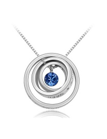 Elegant Silver Color Round Shape Pendant Decorated Simple Color-matching Necklace