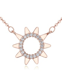 Fashion Rose Gold Sun Shape Pendant Decorated Simple Long Chain Necklace