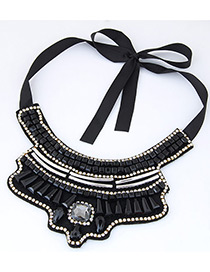 Bohemia Black Suqare Shape Diamond Decorated Simple Necklace