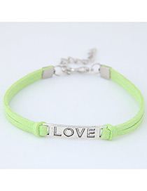 Fashion Green Letter Shape Decorated Simple Double Layer Bracelet