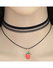 Vintage Black Strawberry Shape Pendant Decorated Double Layer Choker