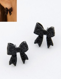 Sweet Black Bowknot Decorated Pure Color Earrings
