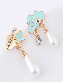 Sweet Light Blue Flower Decorated Color Matching Asymmetric Earrings