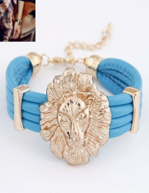 Sweet Blue Lion Head Decorated Multi-layer Bracelet