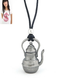 Sweet Silver Color Teapot Pendant Decorated Pure Color Necklace