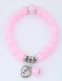 Fashion Pink Heart Shape Decorated Pure Color Bracelet