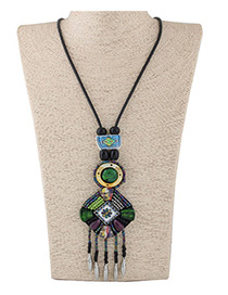 Fashion Green Square Shape Decorated Color Matching Long Necklace