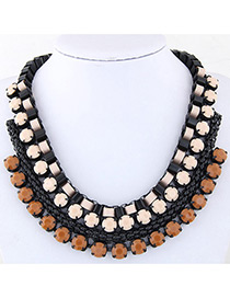 Fashion Coffee+pink Color Matching Decorated Multi-layer Necklace