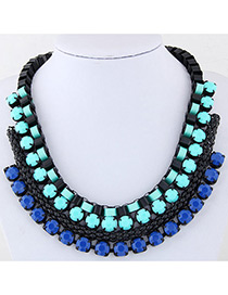 Fashion Blue Color Matching Decorated Multi-layer Necklace