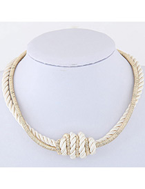 Fashion Beige Knot Design Color Matching Simple Necklace