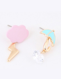 Sweet Pink+blue Cloud&umbrella Decorated Asymmetric Earrings