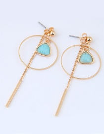Sweet Gold Color+blue Tassel&circular Ring Decorated Pure Color Earrings