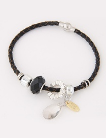 Trendy Black Water Drop Shape Diamond Decorated Simple Bracelet
