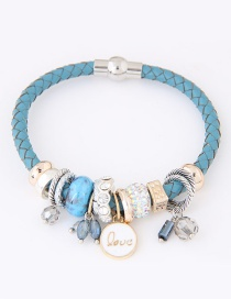 Trendy Blue Round Shape Pendant Decorated Simple Bracelet