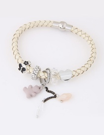 Trendy Beige Bear Pendant Decorated Simple Bracelet