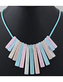 Trendy White Vertical Shape Decorated Pure Color Necklace