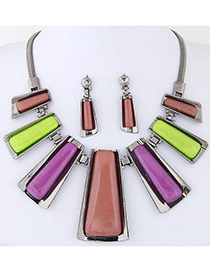 Trendy Multi-color Vertical Shape Decorated Color Matching Jewelry Sets