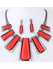 Trendy Red Vertical Shape Decorated Pure Color Jewelry Sets