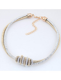Fashion Gold Color+silver Color Color Matching Decorated Double Layer Necklace