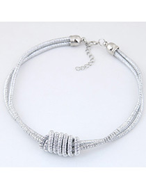 Fashion Silver Color Pure Color Decorated Double Layer Necklace