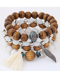 Trendy White Leaf&tassel Decorated Multi-layer Bracelet