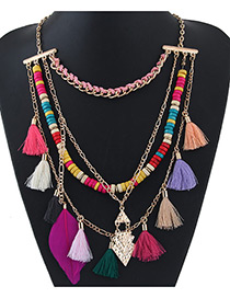 Fashion Multi-color Tassel Decorated Color Matching Necklace