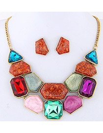 Fashion Multi-color Geometry Shape Decorated Color Matching Jewelry Set