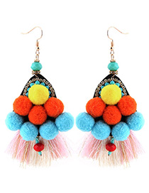 Trendy Multi-color Tassel Decorated Color Matching Pom Earrings