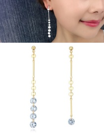 Fashion Gold Color Round Shape Pendant Decorated Earrings