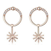 Fashion Rose Gold Sun Pendant Deocrated Earrings