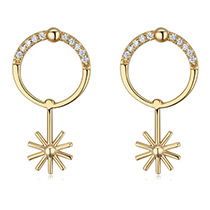 Fashion Gold Color Sun Pendant Deocrated Earrings
